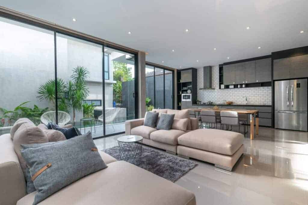 Interior Home Design and Living Room with Open Kitchen Loft House